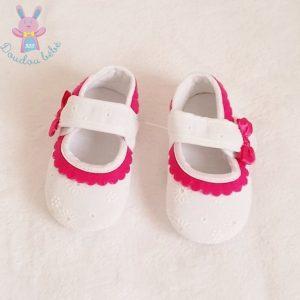 Ballerines tissu blanc rose bébé fille 6/12 MOIS