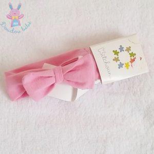 Bandeau rose avec noeud bébé fille 3/6 MOIS