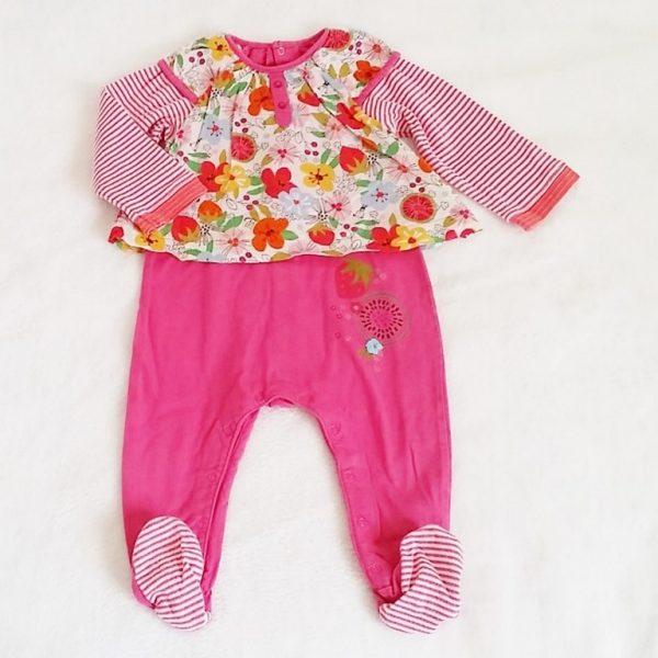 Pyjama coton rose fleurs bébé fille 12 mois CATIMINI