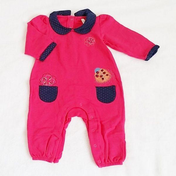 Combinaison coton rose bébé fille 12 mois ORCHESTRA