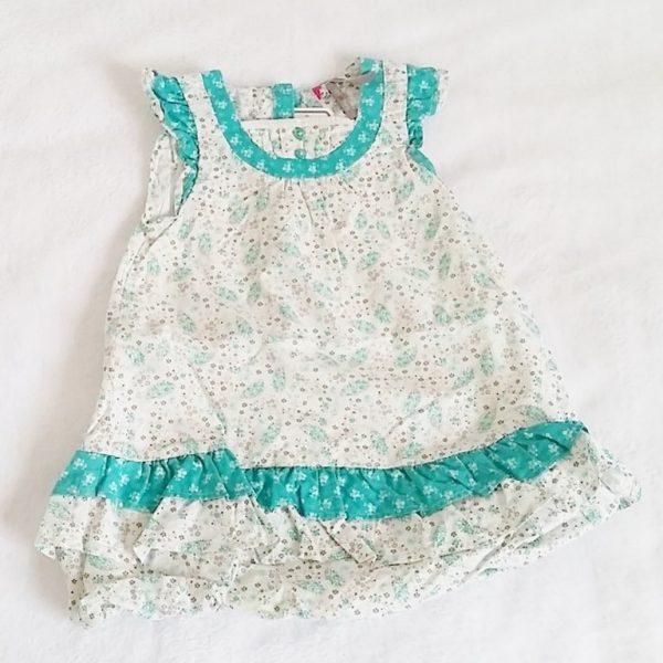 Robe fleurs blanc vert bébé fille 12 mois ORCHESTRA