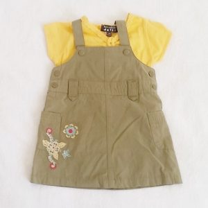 Ensemble Robe kaki + T-shirt jaune bébé fille 3 MOIS