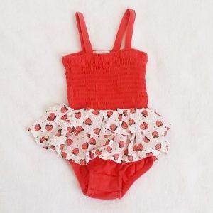 Body bretelles à volants fraises bébé fille 3 MOIS