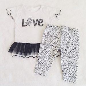Ensemble Robe Love + Legging bébé fille 3 MOIS