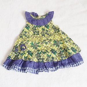 Robe verte violette fleurs bébé fille 3 MOIS