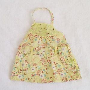Robe dos nu jaune et fleurs bébé fille 3 MOIS