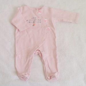 Pyjama coton rose pâle bébé fille 3 MOIS