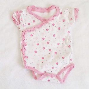 Body blanc rose fleurs bébé fille 3 MOIS
