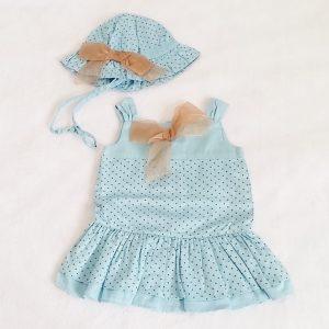 Robe à pois + chapeau bleu bébé fille 6 MOIS