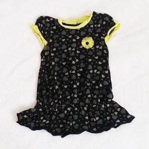 Robe noire jaune cœurs bébé fille 6 MOIS ORCHESTRA