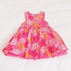 Robe rose saumon fleurs bébé fille 6 MOIS