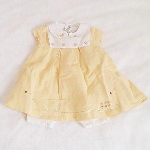 Barboteuse robe jaune blanc bébé fille 6 MOIS NATALYS