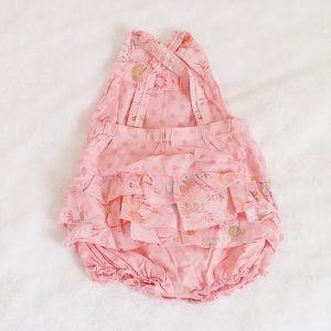 Barboteuse à bretelles rose bébé fille 6 MOIS