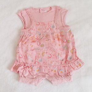Barboteuse robe rose fleurs bébé fille 6 MOIS