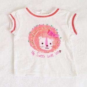 T-shirt blanc Lion orange bébé fille 6 MOIS