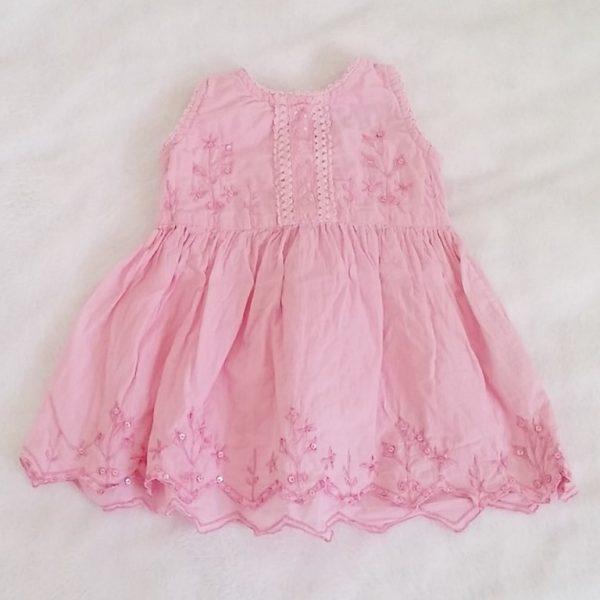Robe rose avec strass bébé fille 6/12 MOIS