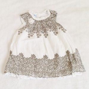 Robe blanche motif fleurs taupe bébé fille 9 MOIS
