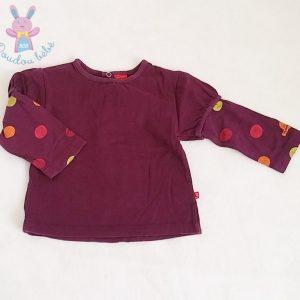 T-shirt prune et pois bébé fille 12 MOIS BABYGRO