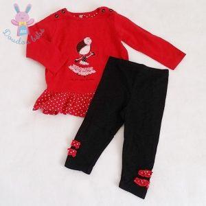 Ensemble robe rouge + Legging bébé fille 12 MOIS