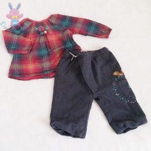 Ensemble Blouse + Pantalon bébé fille 12 MOIS DPAM