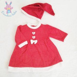 Robe de Noël rouge et blanc + Bonnet bébé fille 12 MOIS
