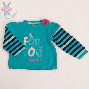 Pull turquoise mailles «For you and me» bébé fille 12 MOIS ORCHESTRA