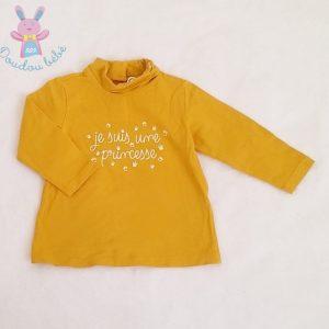 Sous-pull moutarde «Je suis une princesse» bébé fille 12 MOIS TAPE A L'OEIL