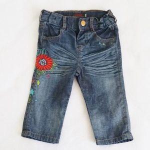 Pantalon jean bleu fleurs bébé fille 12 MOIS CATIMINI