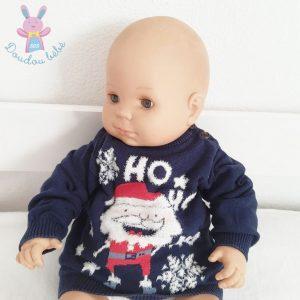 Pull mailles bleu marine Père Noël bébé garçon 12 MOIS