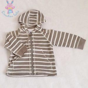 Gilet à capuche gris bébé garçon 12 MOIS PETIT BATEAU