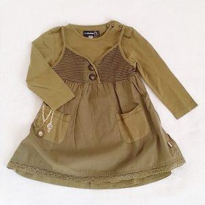 Robes superposées kaki bébé fille 18 MOIS JEAN BOURGET