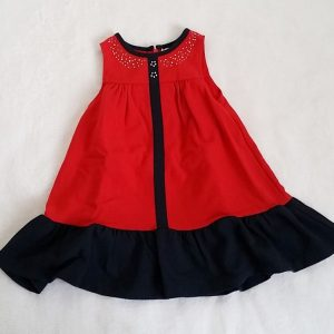 Robe rouge et bleu marine bébé fille 18 MOIS DPAM
