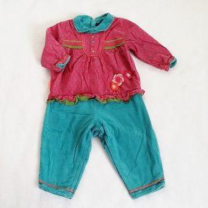 Combinaison velours molletonné rose turquoise bébé fille 18 MOIS CATIMINI