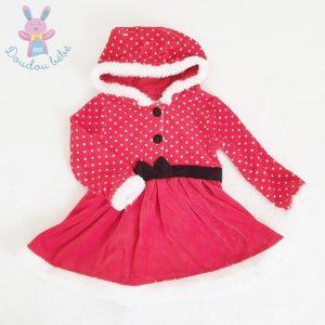 Robe de Noël à capuche rouge pois blanc bébé fille 18 MOIS