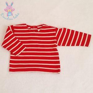 T-shirt rayé rouge blanc bébé 18 MOIS