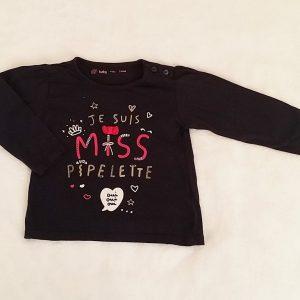T-shirt «Je suis miss pipelette» bébé fille 24 MOIS
