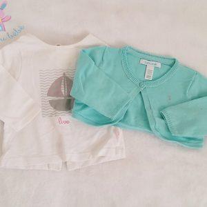 Ensemble 3 pièces T-shirt Gilet Pantalon bébé fille 3 MOIS OBAIBI