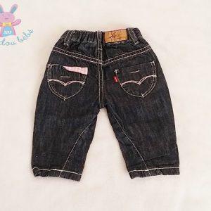 Pantalon jean bleu taille vichy rose bébé fille 3 MOIS LEVI'S