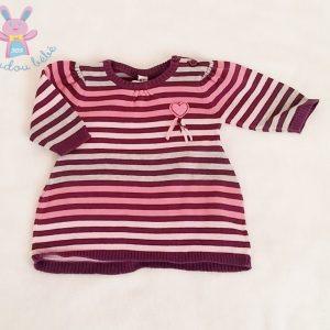 Robe mailles rayée rose violet gris bébé fille 3 MOIS (62 cm)