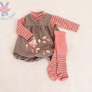 Ensemble Robe + Sous-pull + Collant bébé fille 3 MOIS