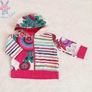 Sweat à capuche zippé coloré bébé fille 3 MOIS DESIGUAL