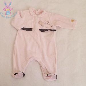Pyjama velours rose et gris «chut je dors» bébé fille 3 MOIS
