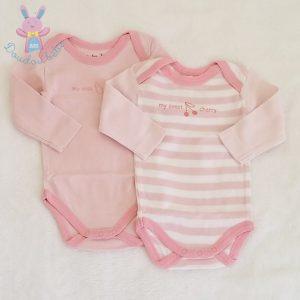 Lot 2 bodies rose et blanc bébé fille 3 MOIS