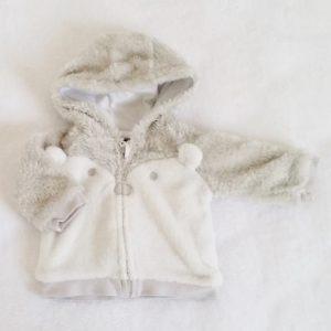 Sweat polaire gris et blanc zippé bébé fille 3 MOIS