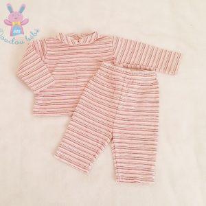 Obaïbi cardigan rayé rose bébé  fille  6 mois