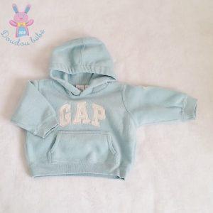 Sweat à capuche polaire bleu bébé 3/6 MOIS GAP