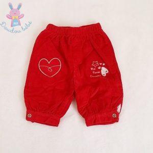 Pantacourt velours rouge «chaussons de danse» bébé fille 6 MOIS