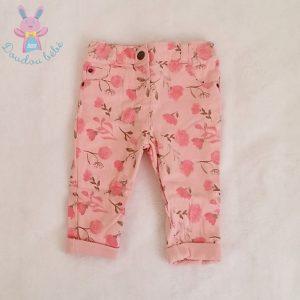 Pantalon doublé rose fleurs bébé fille 6 MOIS ORCHESTRA