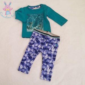 Ensemble T-shirt + Legging bleu bébé fille 6 MOIS LEMON BERET