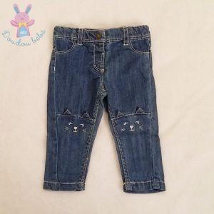 Pantalon jean bleu Chat bébé fille 6 MOIS